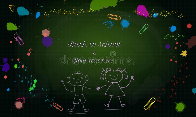 Creative Back to School banner with doodle boy and girl isolated on green chalkboard background with colorful paint splashes. Splatter and paper clips vector illustration