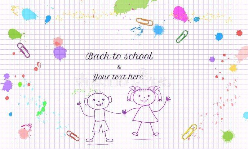 Creative Back to School banner template with hand drawn doodle boy and girl isolated on abstract background with grid paper patter. N, colorful paint splashes stock illustration