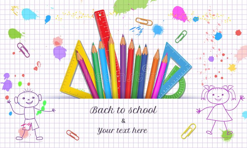 Creative Back to School banner template with hand drawn doodle boy and girl isolated on abstract white background with grid paper stock illustration