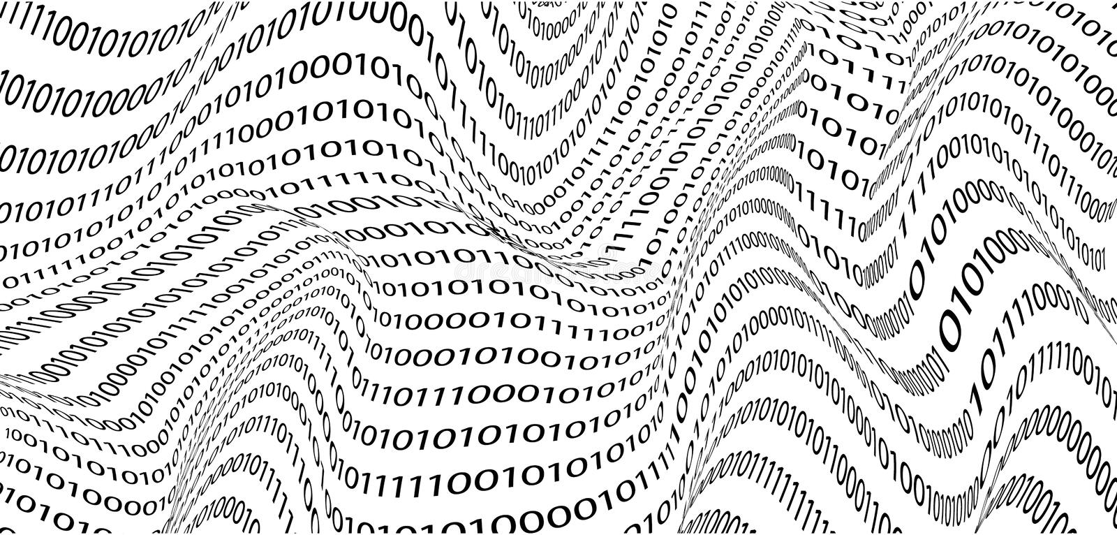 The creative background of binary digits, in the style of the waves. the concept of computer technology. vector graphics stock photography