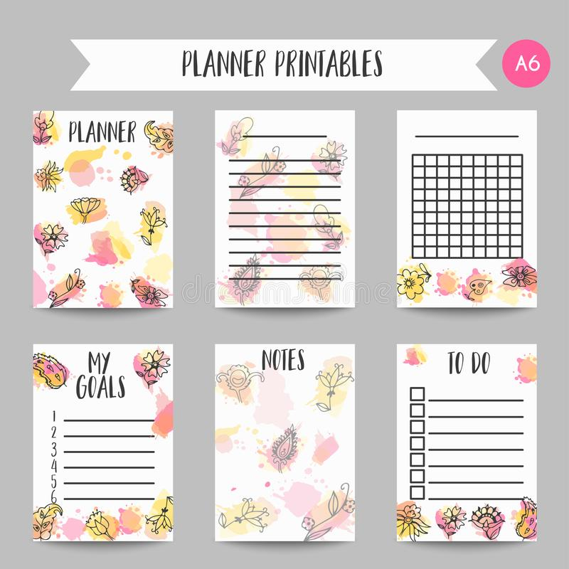 Creative background card with flowers. Hand drawn floral elements. Organizer and printables design Vector template. Banners for poster, invitation, wedding royalty free illustration