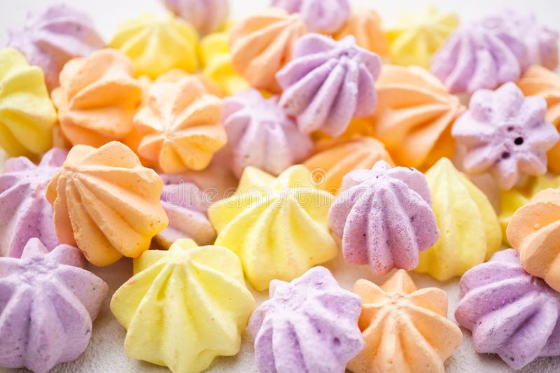 Creative background of colorful meringues texture royalty free stock photos