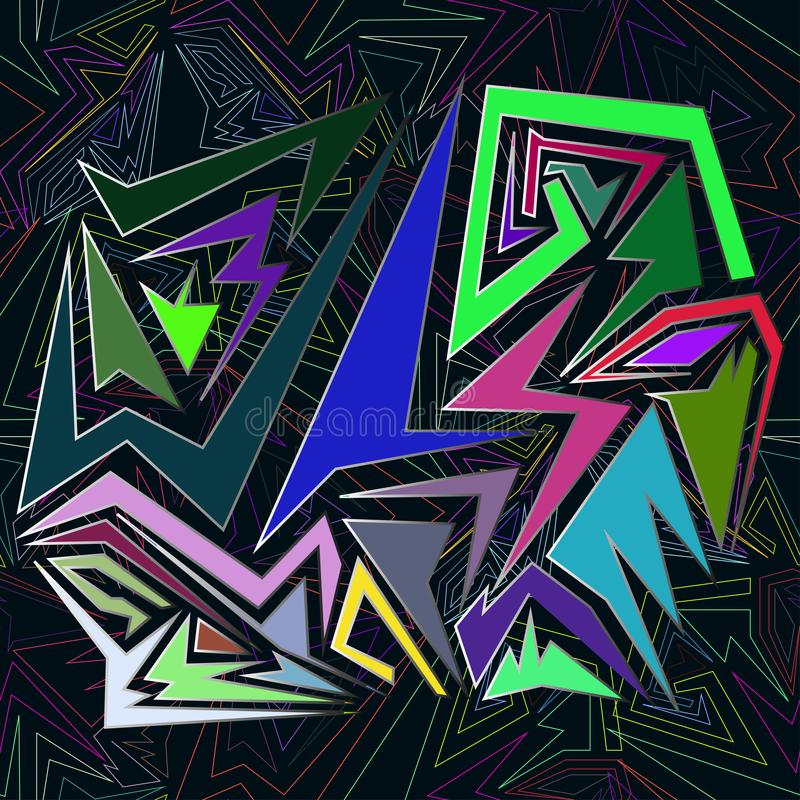 Creative background with dots, geometric figures royalty free illustration
