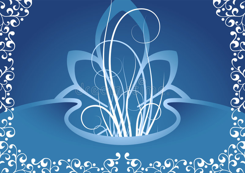 Creative background with floral elements in blue color, vector i royalty free illustration