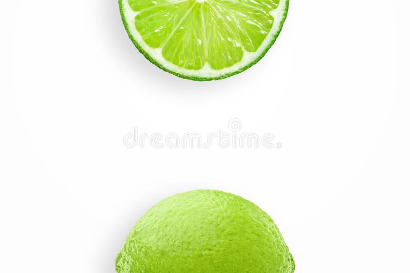 Creative background, lime and lime slices on white background. Flat lay, copy space, layout. The concept of nutrition, fresh fruit. Creative background, lime and stock photo