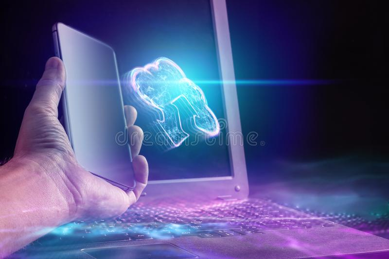 Creative background, male hand is holding a smartphone with a cloud hologram. The concept of cloud technology. Cloud storage, a new generation of networks vector illustration