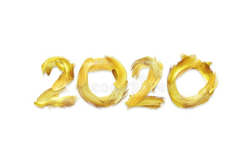 Creative background, numbers 2020 consisting of brush strokes in gold paint on a light background. Happy new year, year of the rat royalty free illustration