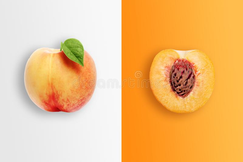 Creative background, peach and peach slices on white and orange background. Flat lay, copy space, layout. The concept of nutrition royalty free stock images