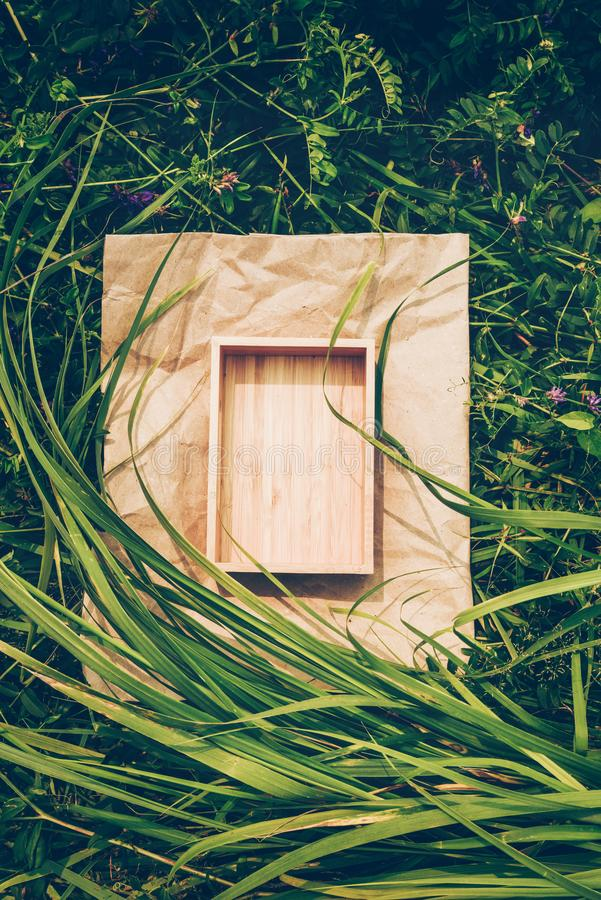 Creative background from plants, frame from kraft paper and box of wood. Vegan Product Concept stock photography