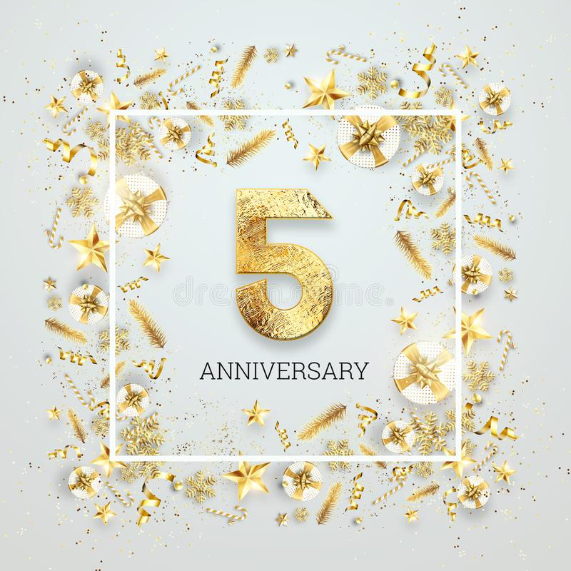 Creative background, 5th anniversary. Celebration of golden text and confetti on a light background with numbers, frame. royalty free illustration