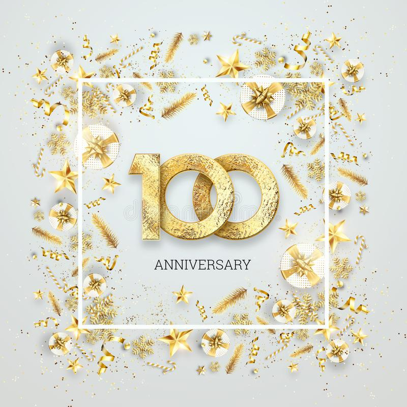 Creative background, 100th anniversary. Celebration of golden text and confetti on a light background with numbers, frame. vector illustration