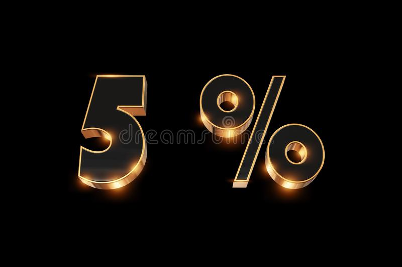 Creative background, winter sale, 5 percent, discount, 3d gold numbers. Layout for holiday poster, stickers, flyers and shops. Element for use in design royalty free illustration