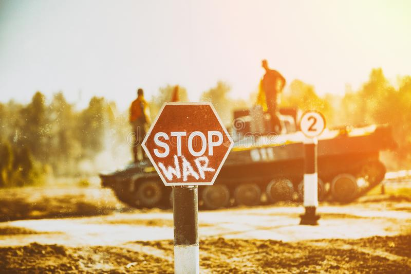 Creative Badge - Stop Wars. Concept - no war, stop military operations, world peace. Stop war sign on the background of royalty free stock photo