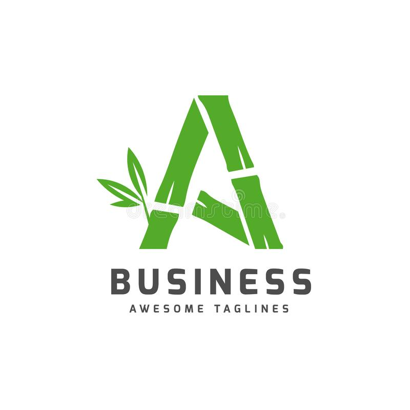 Bamboo with initial letter a logo royalty free illustration