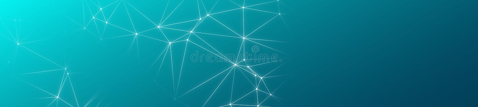 Creative banner background, lines and circles connected. Random lines connected new technology or medicine banner concept stock illustration