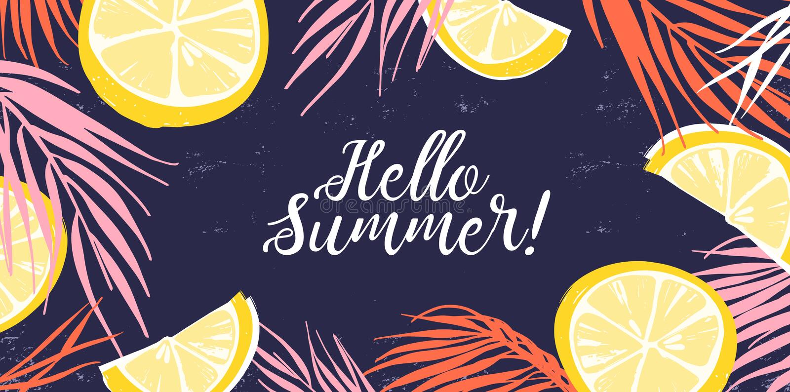 Creative banner decorated with hand drawn lemon slices and tropical leaves. Colorful horizontal background with Hello. Summer inscription. Natural backdrop with stock illustration
