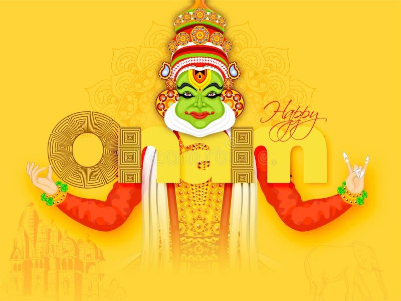 Creative banner or poster design with illustration of Kathakali Dancer. royalty free illustration