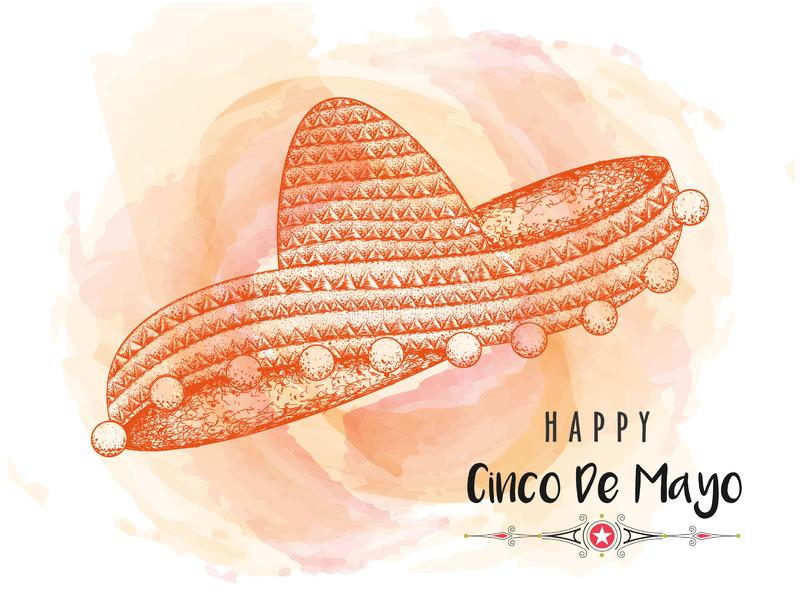 Creative banner or poster design with illustration of sombrero hat for Happy Cinco De Mayo. stock illustration