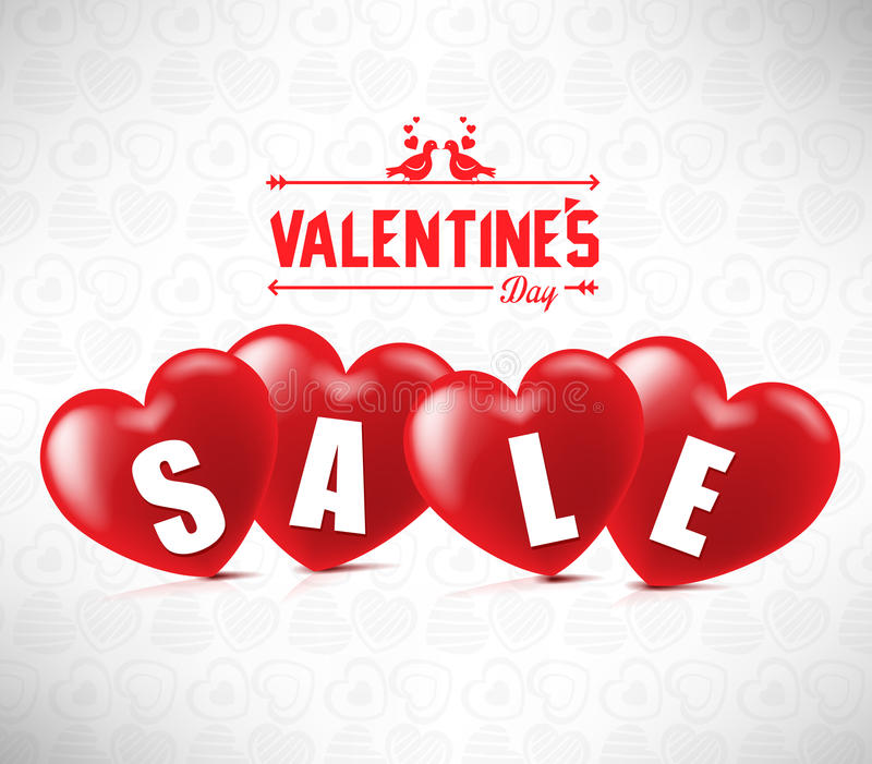 Creative Banner Valentines Sale With Four Red Hearts In White stock illustration