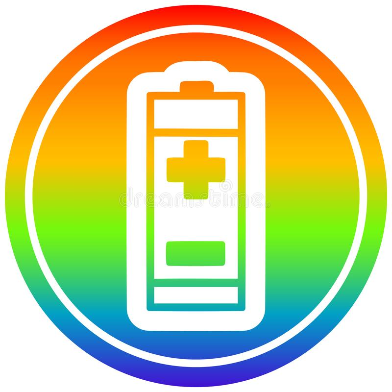 A creative battery circular in rainbow spectrum. An original creative battery circular in rainbow spectrum vector illustration