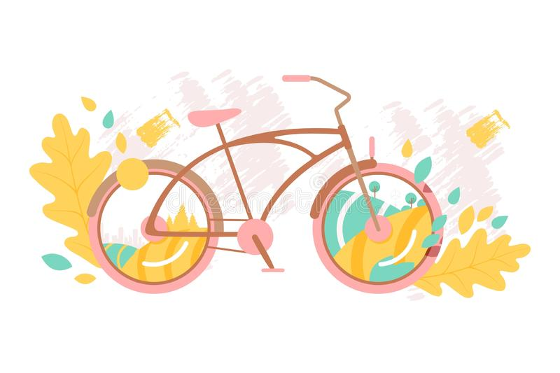 Creative bicycle concept, vector illustration. City and landscape seen through bike wheels, autumn leaves and brush vector illustration