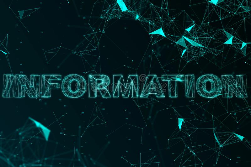 Creative big data background. Creative big data text on bright tech background. Information and science concept. 3D Rendering stock illustration