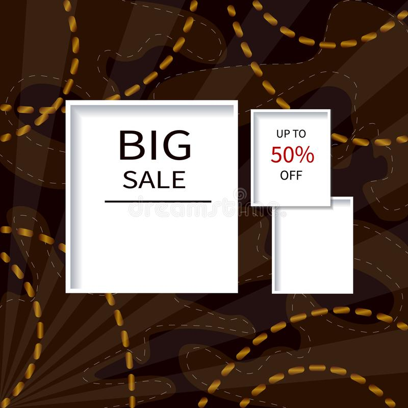 Creative Big Sale headers or banners with discount offer. Art dark and golden posters. Design for seasonal clearance. It can be stock illustration