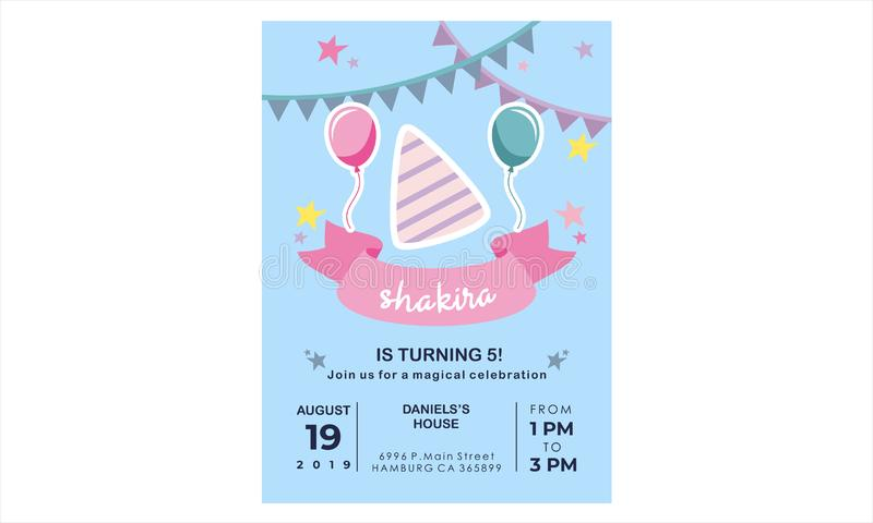 Creative Birthday Card Design for your kid`s party royalty free stock photography