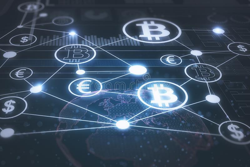 Creative blockchain backdrop royalty free illustration