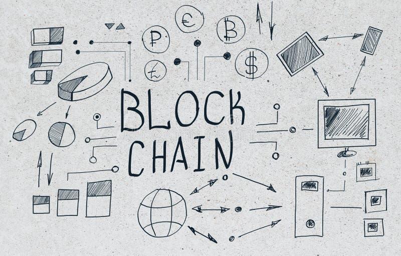 Creative blockchain sketch on concrete background royalty free illustration