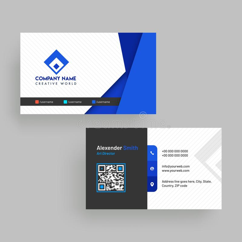 Horizontal Business Card With Front And Back Presentation. Stock ...