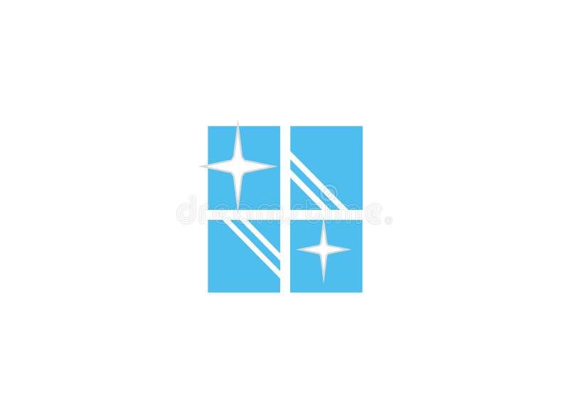 Creative Blue Clean Window stock illustration
