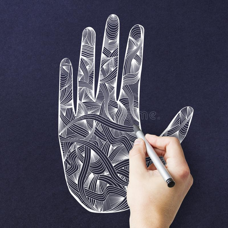 Creative blue mandala hand texture. Creative esoteric mandala hand drawing on dark blue texture. Oriental ornament and hinduism concept stock image