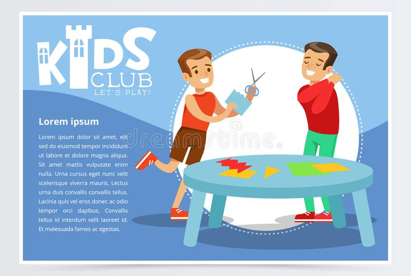 Creative blue poster for kids club with happy boys characters making applique. Hand made and paper crafts class. Development center promo. Colorful promotion stock illustration