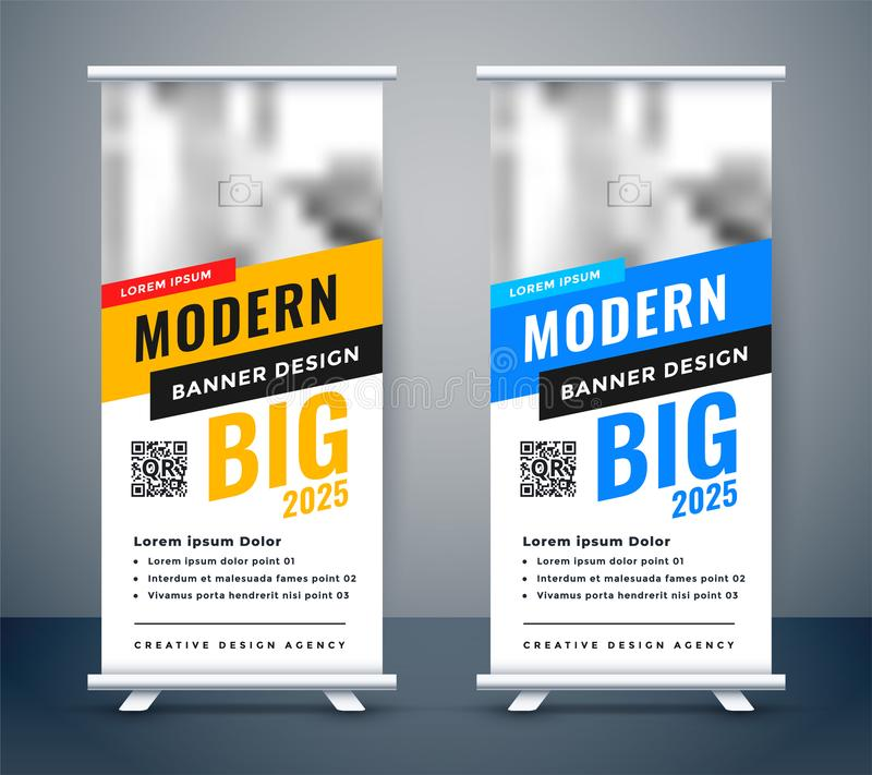 Creative blue and yellow rollup standee banner design stock illustration
