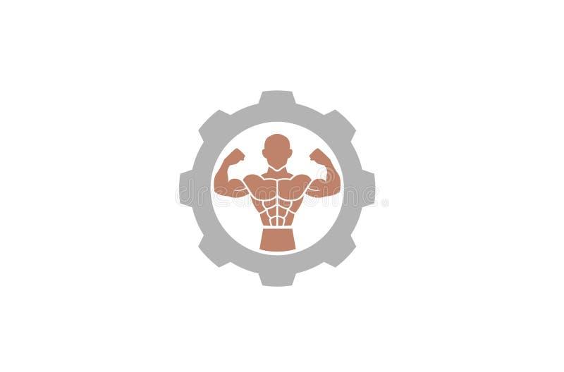 Creative Bodybuilder Muscle Gear Logo Design Illustration royalty free illustration