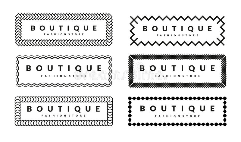Creative Borders Design Template Set For Hipsters Fashion Boutique royalty free stock image