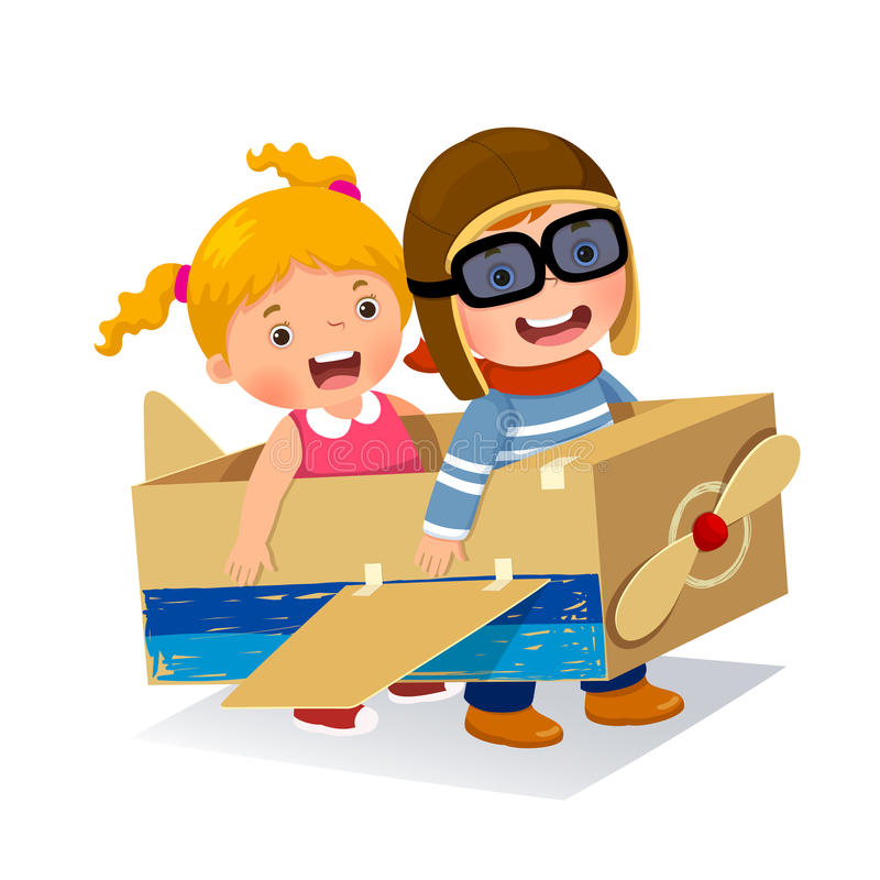 Creative boy playing as a pilot with cardboard airplane stock illustration