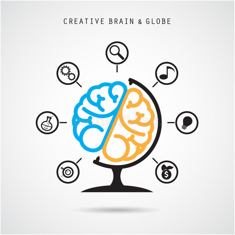 Creative brain abstract vector logo design and infographics temp royalty free illustration