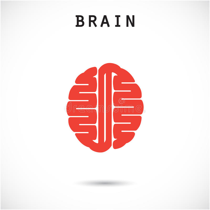 Creative brain abstract vector logo design template. stock illustration