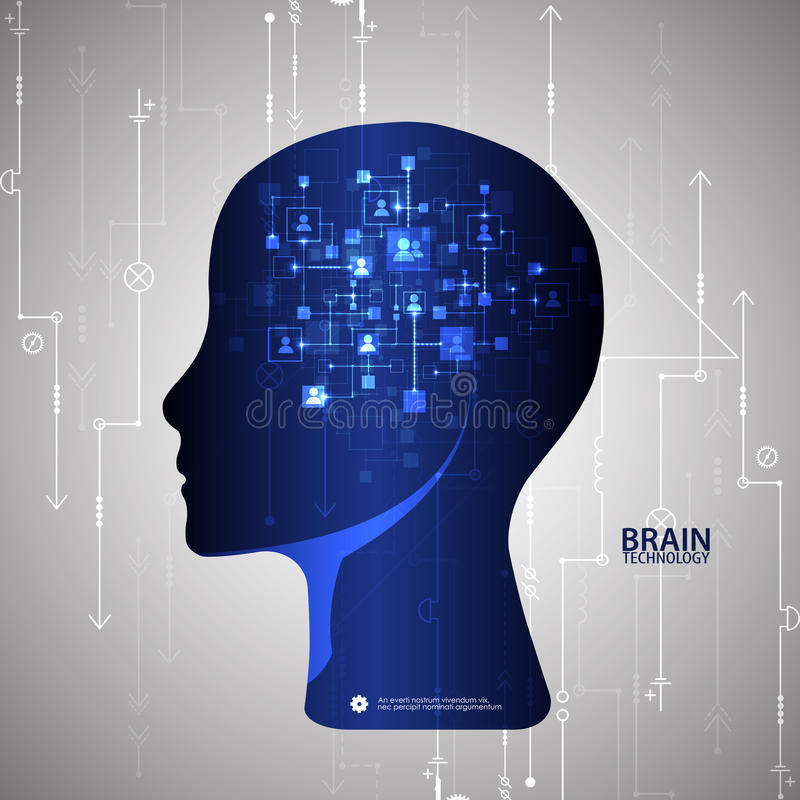 Creative brain concept background. Artificial Intelligence concept. royalty free illustration