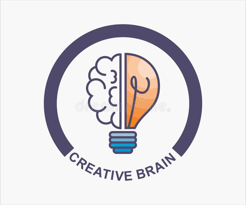 Creative brain, design for logo. T-shirt, symbol, clip art. illustration of the brilliance of the brain stock illustration