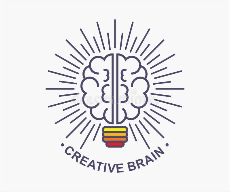 Creative brain for t-shirt, logo, modern t-shirt. Creative brain, design for logo, t-shirt, symbol, clip art. illustration of the brilliance of the brain royalty free illustration