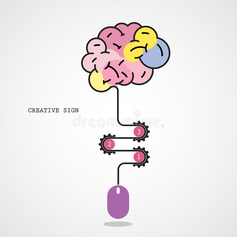 Creative brain idea concept and computer mouse symbol. Progression of idea concept. Business, education and industrial idea. Vector illustration royalty free illustration