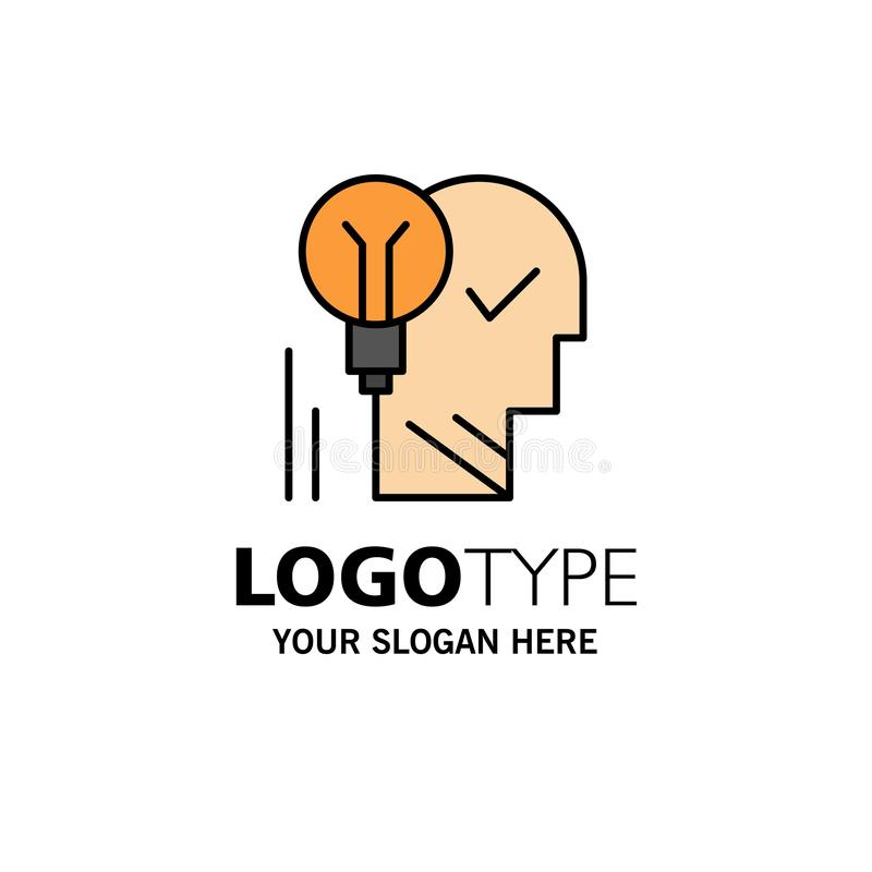Creative, Brain, Idea, Light bulb, Mind, Personal, Power, Success Business Logo Template. Flat Color stock illustration