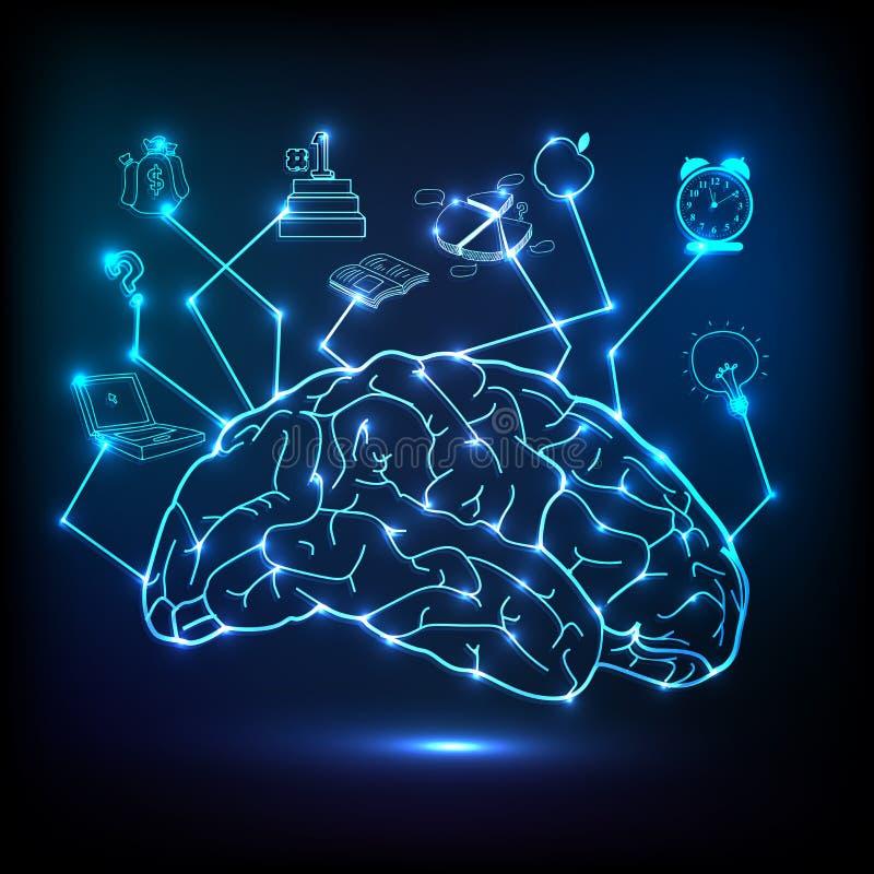 Creative brain infographic. Creative shiny illustration of brain infographic on blue background royalty free illustration
