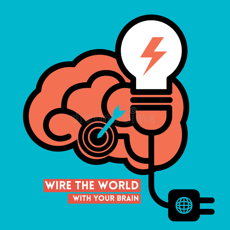 Creative Brain Light Bulb Concept Illustration royalty free illustration