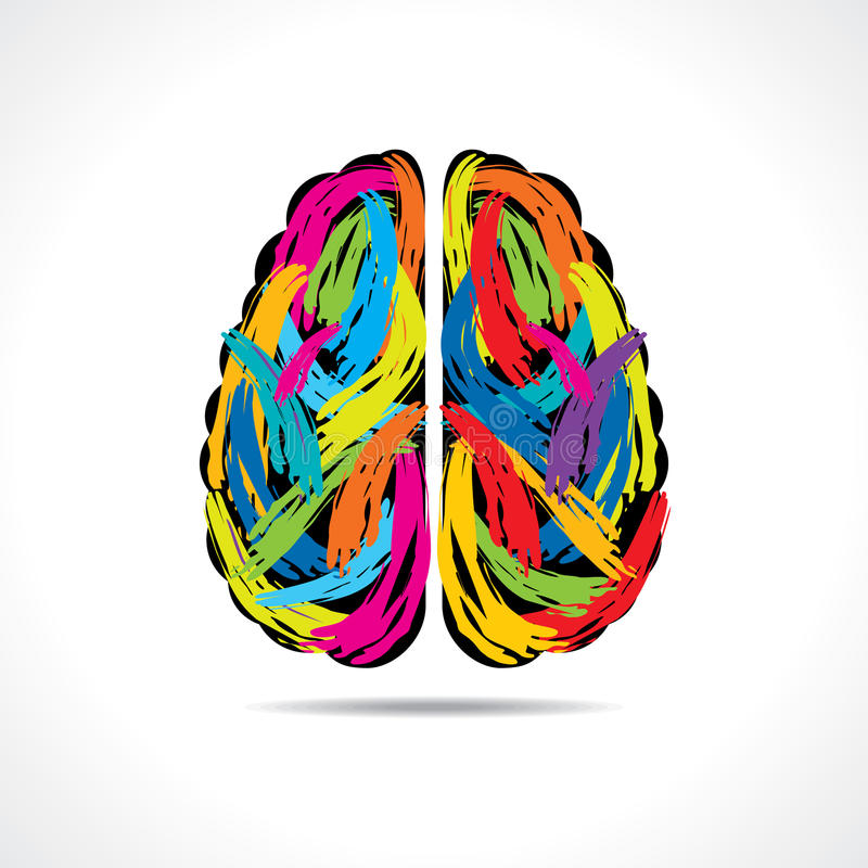 Creative brain with paint strokes stock image