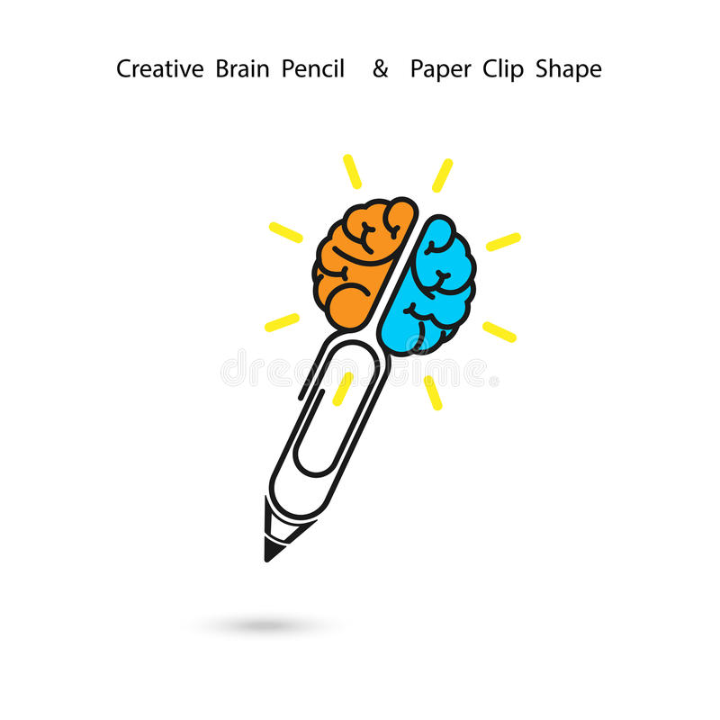 creative brain pencil logo design paper clip sign concept of ide stock vector illustration of Imagination Clip Art Think About It Clip Art