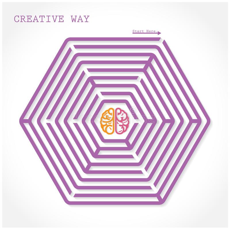 Creative brain symbol in the middle of hexagonal maze. Creative hexagon maze way concept. Creative brain symbol in the middle of hexagonal maze, education sign stock illustration